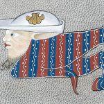 Enluminures - Martine Chany - détail d'une enluminure sur parchemin de chèvre teinté